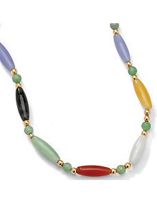 "Multi-Color Jade 14k Necklace 18"" by PalmBeach Jewelry"