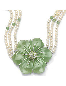 "Jade/Peridot/Pearl Necklace 16"" by PalmBeach Jewelry"