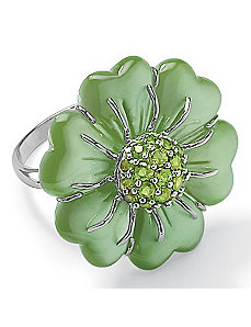 Green Jade Silver Ring by PalmBeach Jewelry