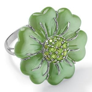 Green Jade Silver Ring
