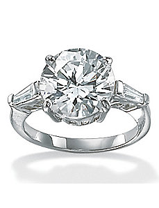 Cubic Zirconia Platinum/SS Solitaire Ring by PalmBeach Jewelry