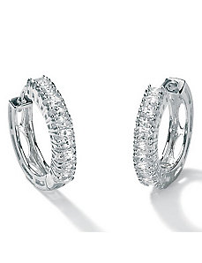 Cubic Zirconia Platinum/SS Earrings by PalmBeach Jewelry