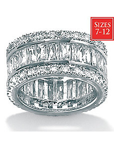 Cubic Zirconia Platinum/SS Eternity Ring by PalmBeach Jewelry