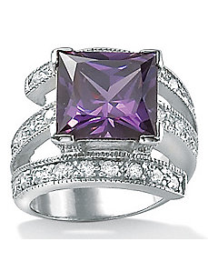 Purplecubic zirconia Sterling Silver Ring by PalmBeach Jewelry