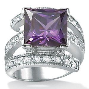 Purplecubic zirconia Sterling Silver Ring