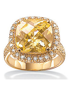 Yellowcubic zirconia 18k/SS Ring by PalmBeach Jewelry