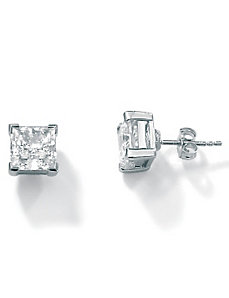 5 CT.T.W. Cubic Zirconia Platinum/SS Earrings by PalmBeach Jewelry