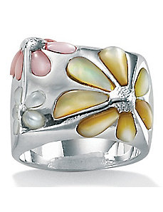 Mother-Of-Pearl SS Daisy Ring by PalmBeach Jewelry