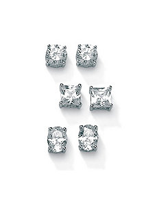 3-Paircubic zirconia Platinum/SS Earring Set by PalmBeach Jewelry