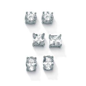 3-Paircubic zirconia Platinum/SS Earring Set