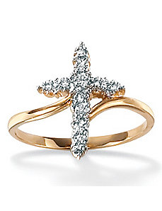 Diamond Accent 10k Cross Ring by PalmBeach Jewelry