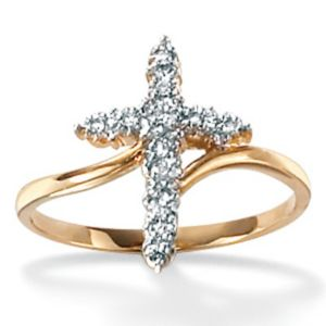 Diamond Accent 10k Cross Ring