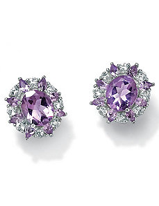 Amethyst Topaz SS Earrings by PalmBeach Jewelry