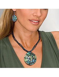 Abalone Disk Jewelry Set by PalmBeach Jewelry