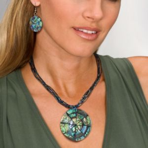 Abalone Disk Jewelry Set