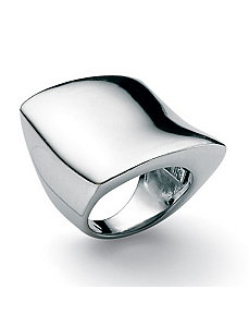 Silver Free-Form Square Ring by PalmBeach Jewelry