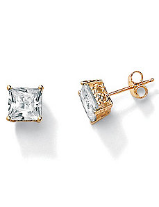 3.60 CT.T.W. Cubic Zirconia 10k Stud Earrings by PalmBeach Jewelry