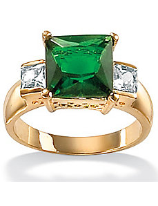 Simulated Emerald/Cubic Zirconia Ring by PalmBeach Jewelry