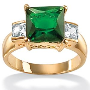 Simulated Emerald/Cubic Zirconia Ring