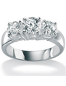 Cubic Zirconia Silver 3-Stone Ring by PalmBeach Jewelry