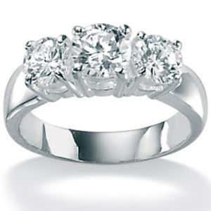 Cubic Zirconia Silver 3-Stone Ring