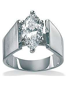 Cubic Zirconia Silver Marquise-Cut Ring by PalmBeach Jewelry