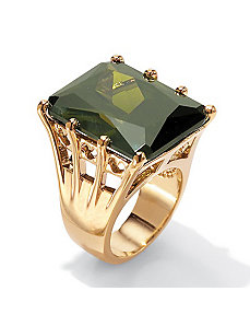 Olivine cubic zirconia Sterling Silver Ring by PalmBeach Jewelry