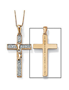 "10k""Footprints""Cross Pendant by PalmBeach Jewelry"