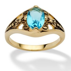Sim. Birthstone Antiqued Ring