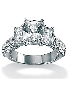 Cubic Zirconia Platinum/SS Emerald-Cut Ring by PalmBeach Jewelry