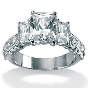 Cubic Zirconia Platinum/SS Emerald-Cut Ring
