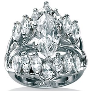 Cubic Zirconia Silver Marquise Ring