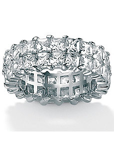 Cubic Zirconia Platinum/SS Double Row Ring by PalmBeach Jewelry