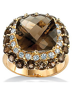 Smoky Quartz 18k/SS Ring by PalmBeach Jewelry