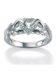 Diamond Acc. Platinum/SS Ring by PalmBeach Jewelry