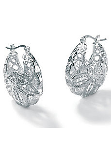 Silver Leaf Hoop Earrings by PalmBeach Jewelry
