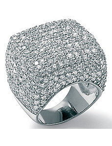 Cubic Zirconia Silver Dome Ring by PalmBeach Jewelry