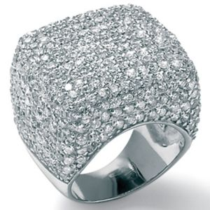 Cubic Zirconia Silver Dome Ring