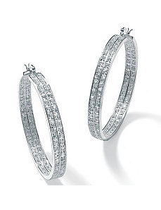Cubic Zirconia 2-Row Silvertone Hoops by PalmBeach Jewelry