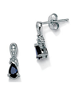Blue Sapphire 10k Gold Earrings by PalmBeach Jewelry
