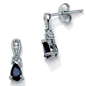 Blue Sapphire 10k Gold Earrings