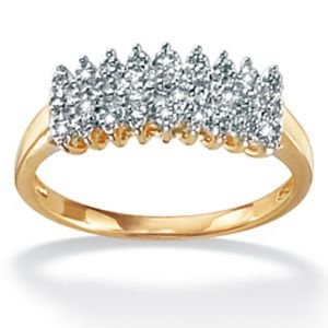Diamond 10k Gold Peak Ring
