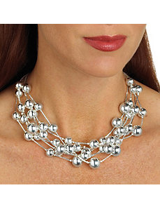 Beaded Necklace Silvertone by PalmBeach Jewelry