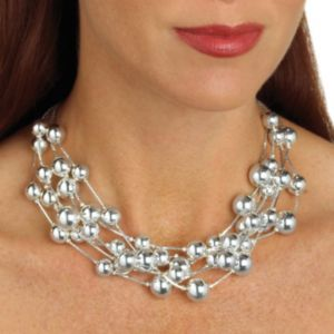 Beaded Necklace Silvertone