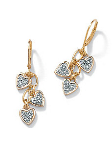 Diamond Accent 18k/SS Earrings by PalmBeach Jewelry