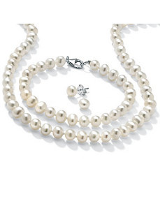 3-Piece Freshwater Pearl SS Set by PalmBeach Jewelry