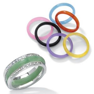 8-Piece Jade Silver Ring Set