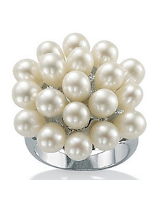 Cultured Pearl Silver Ring by PalmBeach Jewelry
