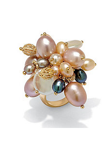 Freshwater Pearl 18k/SS Ring by PalmBeach Jewelry