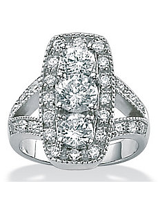 Cubic Zirconia Platinum/SS Round Ring by PalmBeach Jewelry